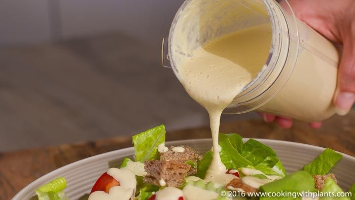 Forget the oil and no need for eggs or dairy! This is the best vegan caesar salad dressing recipe you will ever taste. So rich, creamy and super delicious, it will make any salad taste amazing. Also great over potatoes and pasta. YUM!Vegan Caesar Salad Dressing - Forget the oil and no need for eggs or