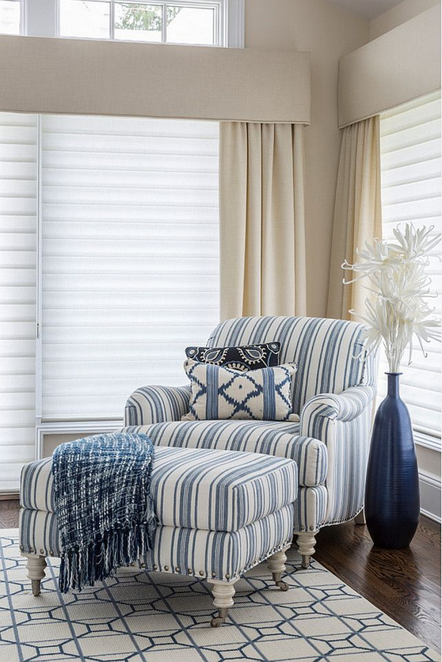 Blue striped chair. Bedroom with Blue striped chair. #Bluestripedchair Kim E Courtney Interiors & Design Inc.