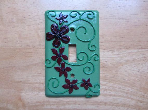 Flowers Polymer Mosaic Light Switch Cover by ColorfulClay on Etsy, $14.00