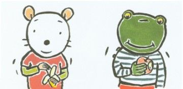 Nellie en Cezar eten fruit