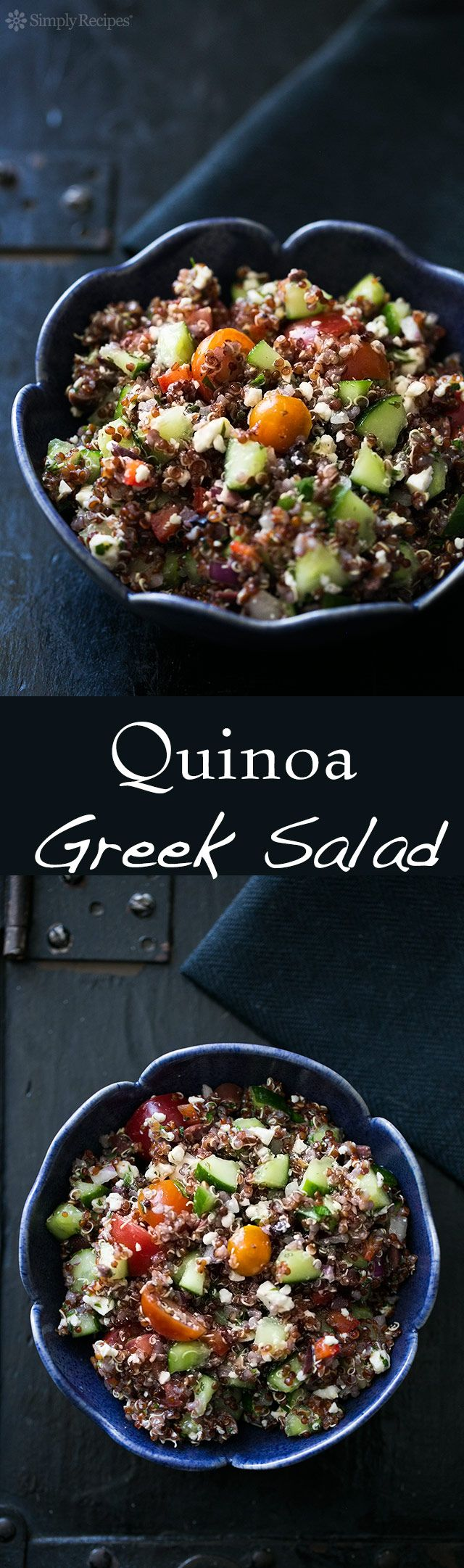Healthy delicious Greek salad with quinoa, cherry tomatoes, cucumbers, red onion, kalamata olives, and feta cheese. So easy! Prep the veggies while the quinoa is cooking. It all comes together in minutes. On SimplyRecipes.com