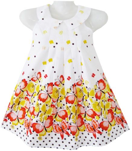 Girls Dress White Collar Yellow Butterfly Kids Clothing Size 2-8 NWT