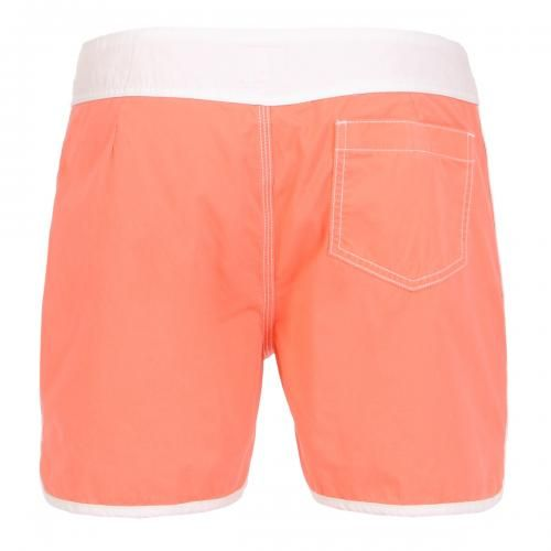 BOARDSHORTS WITH CONTRASTING EDGES Boardshorts with contrasting waist and edges, fixed waist with snaps and Velcro fly, contrast stitching, a Velcro back pocket. COMPOSITION: 100% COTTON. Our model wears size 32, he is 189 cm tall and weighs 86 Kg.