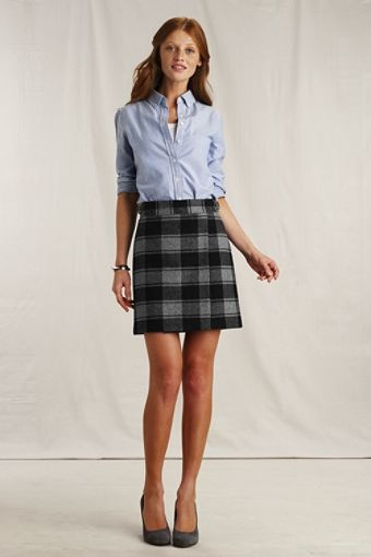 Land's End Canvas plaid wool skirt