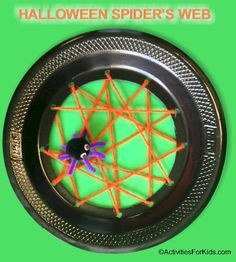 Paper plate spider web craft is a cute Halloween decoration or a creative classroom project relating to spider stories and lessons. #BewitchinProjects