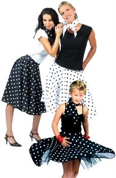 Adult Black/White Polka Dot 50s Sock Hop Skirt - 50's Sock Hop Costumes - Candy Apple Costumes