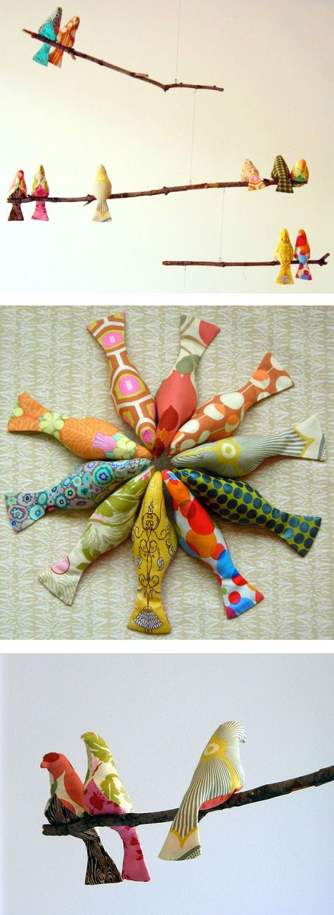 Such a cute mobile idea or wall art for children's room. Originally from a 'Design Sponge' post but the original links have been lost. Her is a Bird pattern that will work available at:  http://p9.storage.canalblog.com/98/89/607080/48912969.jpg