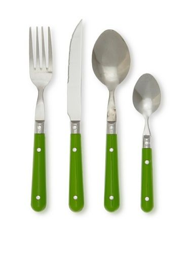 """LeBrun 24-Piece Bistro Cutlery Set, Green by French Home, LLC. $63.99. Dishwasher-safe. Manufactured by one of the top french companies. Made in france. 24 piece bistrot set (4 @ fork, tablespoon,knife, teasspoon). Creative French style for everyday use. LeBrun French """"Bistrot"""" 24 piece picnic style cutlery set in green. In the beginning of the last century LeBrun was founded in Normandy France.  LeBrun has evolved in response to changes in market deman and industry technology t..."""