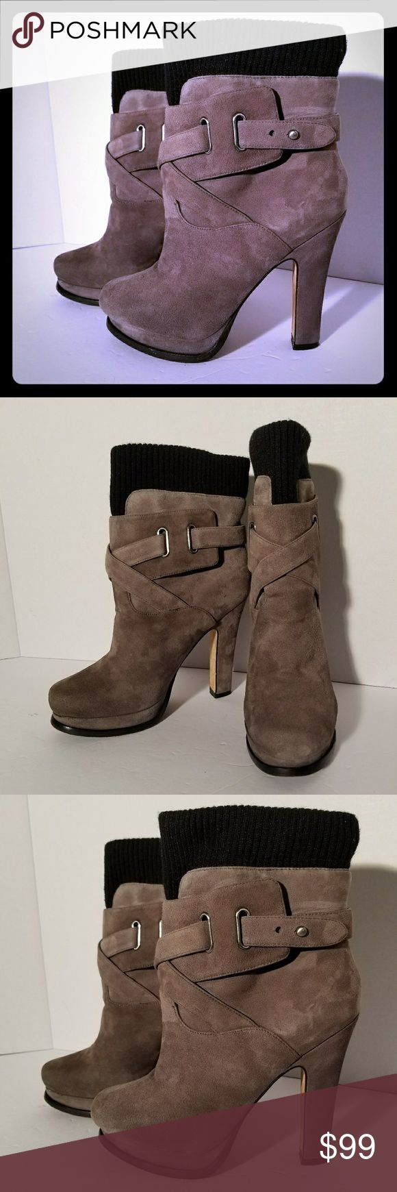 Joan & David Beesley Booties Joan & David Beesley Grey Suede Black Cuff Designer Platform Ankle Boots Cross Cross Strap. The Top is a Black Sweater Material Cuff Which Give These a Really Cool Look!! Joan & David Shoes Ankle Boots & Booties
