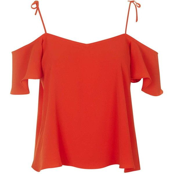 TopShop Tie-Strap Bardot Top ($13) ❤ liked on Polyvore featuring tops, shirts, red, topshop, polyester shirt, open shoulder top, cold shoulder shirt, spaghetti-strap top and cold shoulder tops