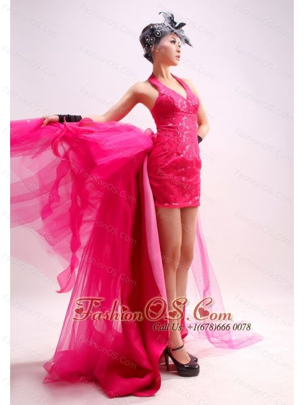 Prom Dress Halter Watteau Tulle Sequins Hot Pink Column / Sheath  http://www.fashionos.com  http://www.facebook.com/quinceaneradress.fashionos.us   If you're looking for a dress that's not quite formal, but not too casual – this one is a great choice. It features a pretty halter-style bodice with a dainty v-neck and a lovely knee length skirt. Shining beadings on the bodice curves slim figure.The close fitting skirt with the detachable train on the back makes you more attractive.