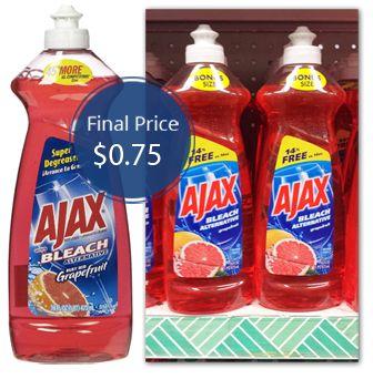 Ajax dishwashing detergent coupons