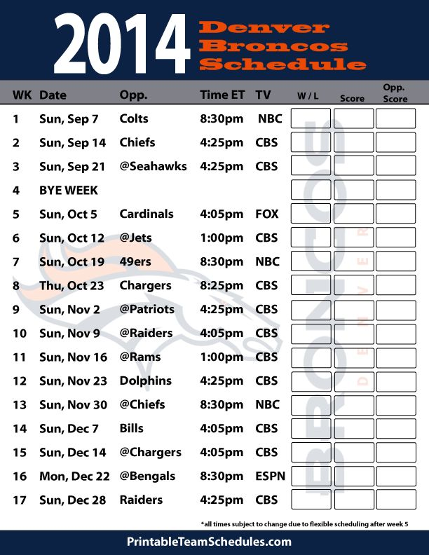 Printable 2014 2014 Broncos Roster | 2014-15 Dallas Cowboys Schedule