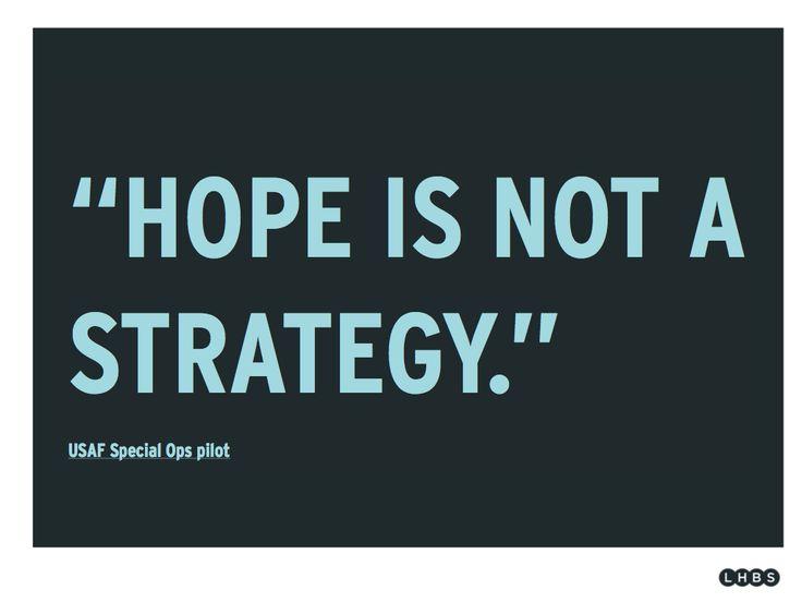 La esperanza no es una estrategia, no podemos dejar nuestro trabajo en manos de la fe.                                                                                                                                                      More
