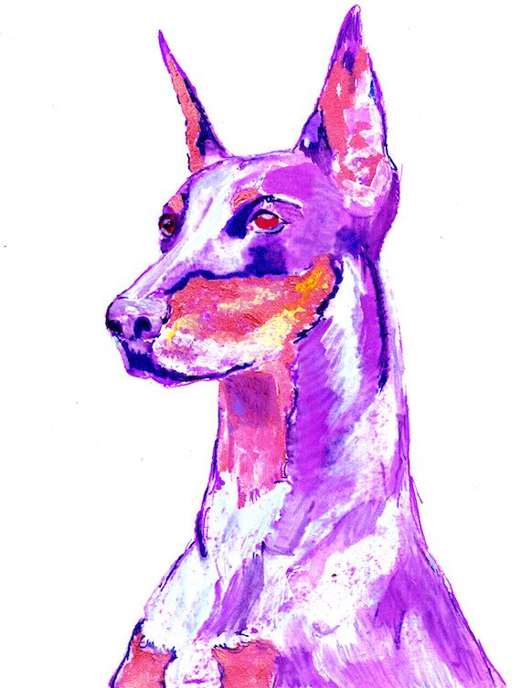 Pink Doberman Dog Painting, Funky Print of Original Art 21 x 29.7cm-holiday gift idea by OjsDogPaintings: 7.48 GBP This… #dogs #etsy #art