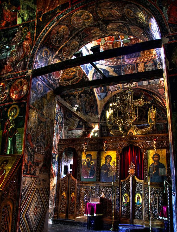 Interior Meteora monastery, Greece: I've been here!!!! Just as beautiful as it looks!!! ahhhh you're so lucky