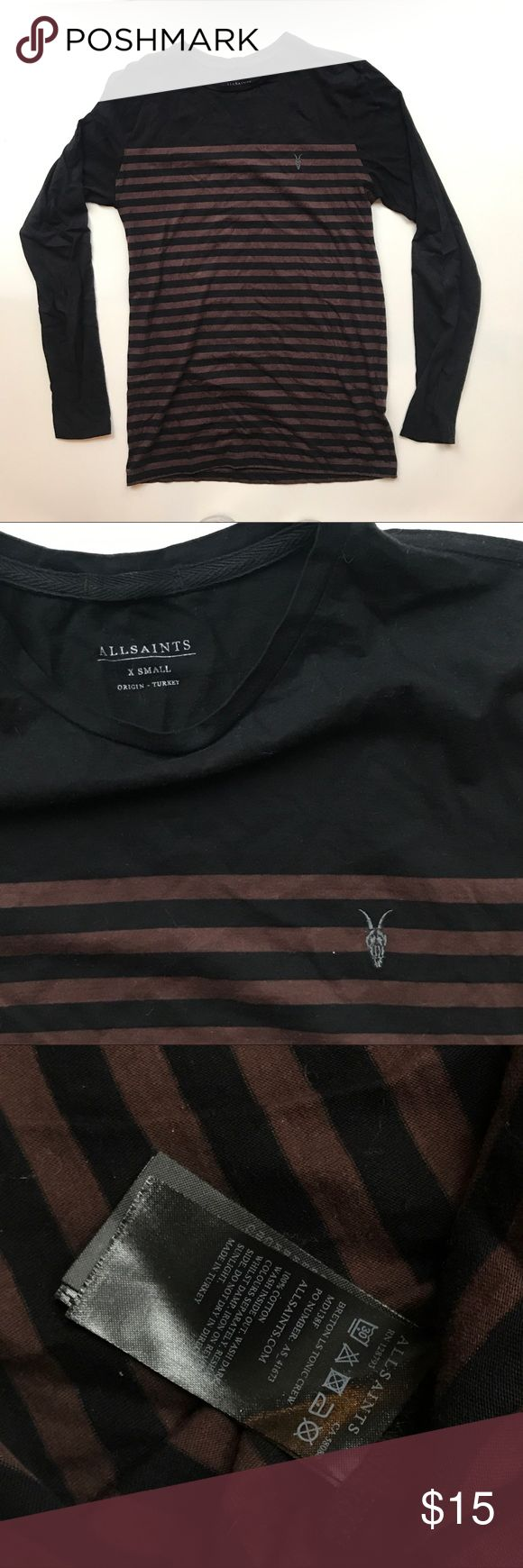 "AllSaints Breton LS Crew Black and oxblood stripe long sleeve shirt, size XS. No imperfections~ 16.5"" W 26"" L 25"" sleeve All Saints Shirts Tees - Long Sleeve"