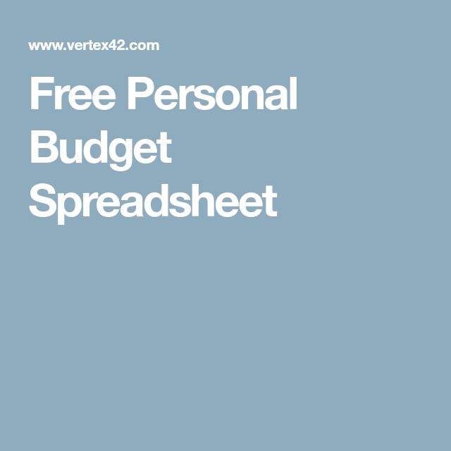 Free Personal Budget Spreadsheet