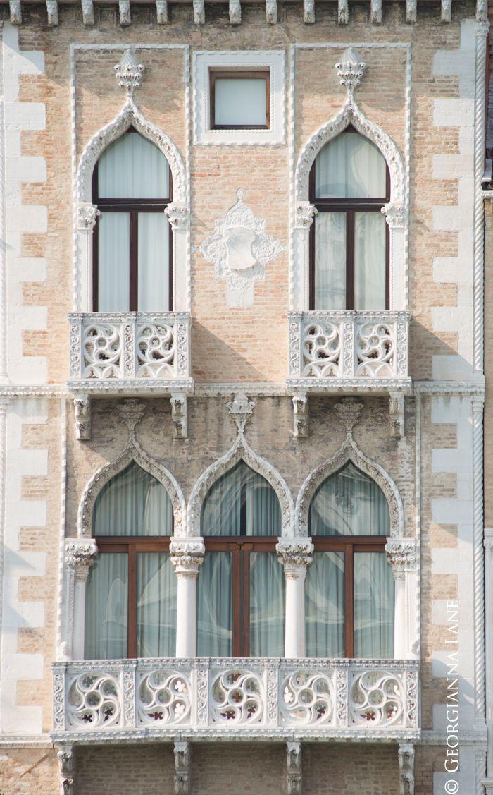 Palazzo Windows and Balcony Venice Italy
