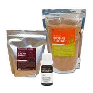 Cacao Lime Pack - Making your own chocolate at home is a pure healthy indulgence we should all experience! With pure natural Cacao Wafers and Rapadura Sugar all you need is organic cold pressed Coconut Oil and some high quality salt to follow the recipe below. What makes this pack so special is you can add 4 drops of Lime oil to give this an exquisite fruity flavour that will have you coming back for more!