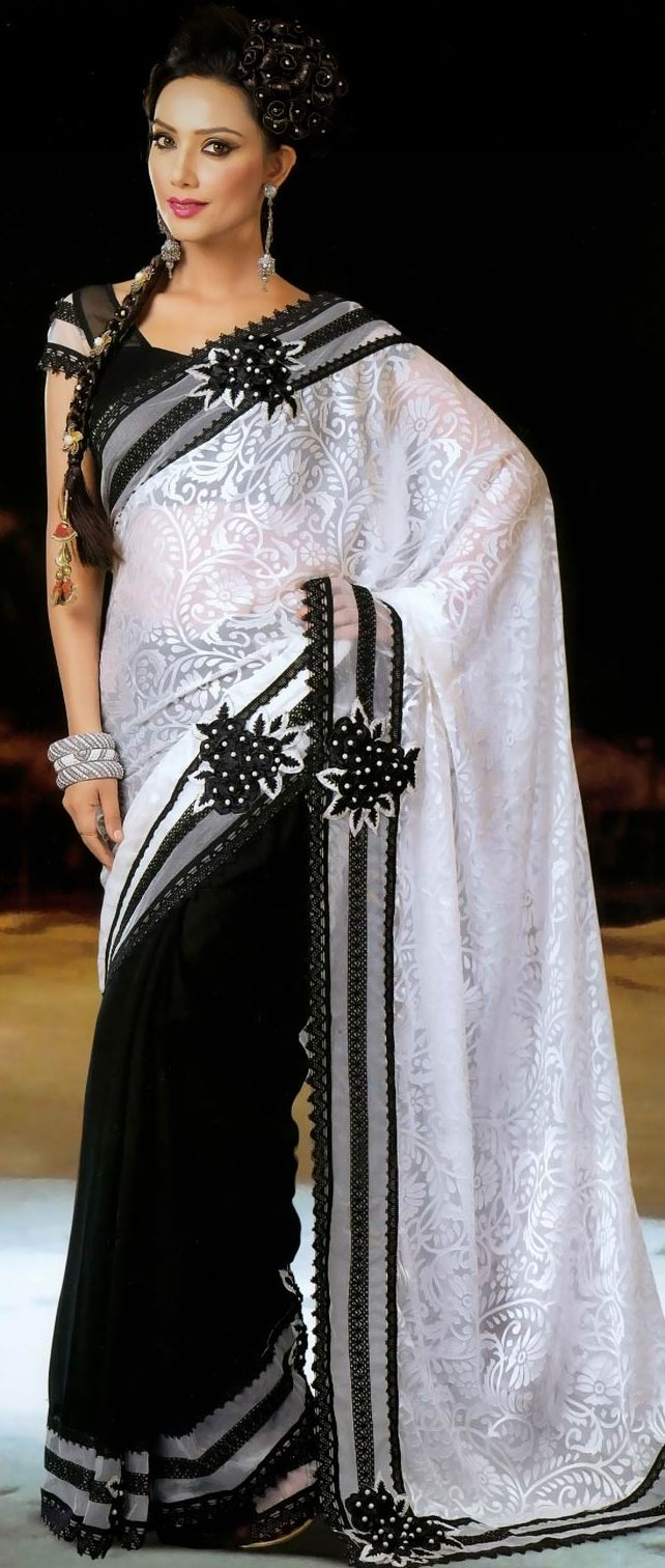 White and Black Saree with Blouse