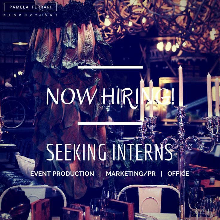 We're seeking interns for event production, marketing/PR, and office! Click here>> https://www.facebook.com/notes/pamela-ferrari-productions/seeking-productionofficeevent-interns/776287692412486