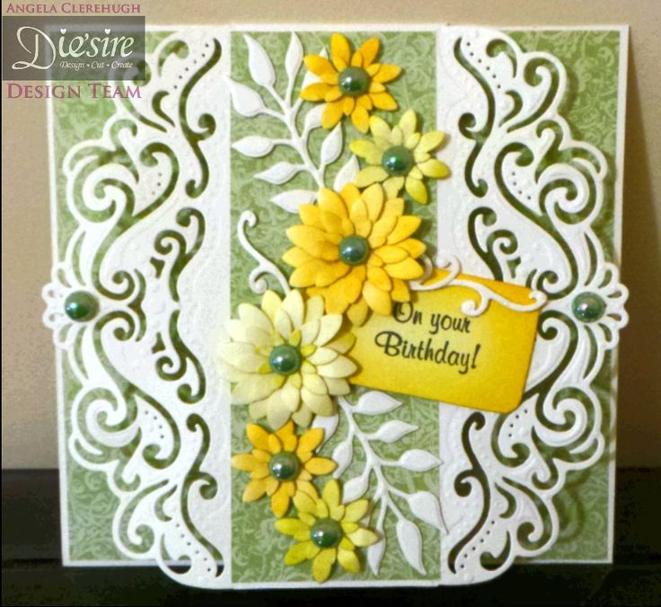 Angela Clerehugh - Create A Card Decorative Die (Florence) - Die'sire Wildflower Trio - Die'sire Flowers for all Occasions 3 - Cream Card - Distress Inks - Pearls - #crafterscompanion