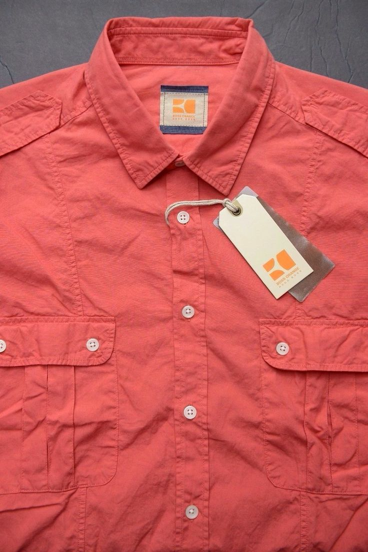 NWT HUGO BOSS ORANGE MEN'S LONG ROLL-UP SLEEVE WASHED RED COTTON CASUAL SHIRT L