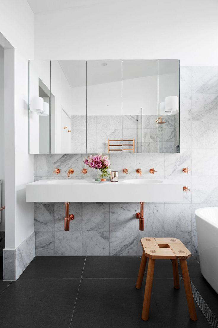 Bathroom vanities that are practical and so pretty. Photography by Alexander McIntyre. Design by Horton & Co (hortonandco.com.au).