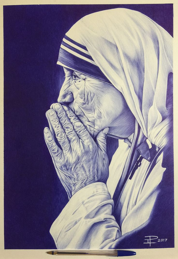 """Mother Teresa""  BIC Ballpoint Pen on 15""x20""  Illustration Board  #MotherTeresa #BIC"