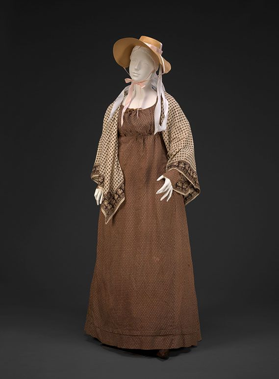 Roller-Printed Dress, c1795-1800, block printed shawl 1780-1820, straw hat 1790s. DAR Museum Agreeable Tyrant exhibit agreeabletyrant.dar.org
