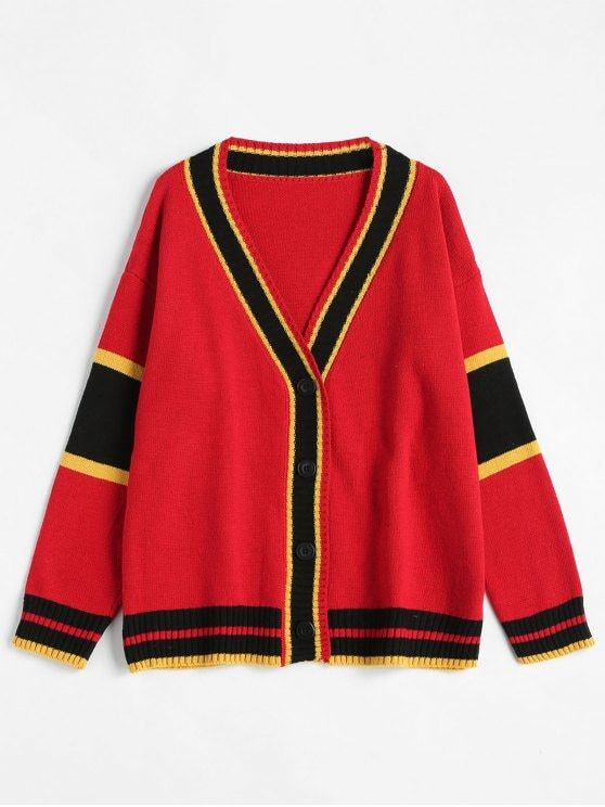 Colorful Striped Plunging Neck Cardigan