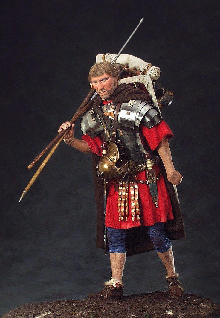 Full length color image of Roman Legionary  aka. Marius' Mule, by George Stuart.