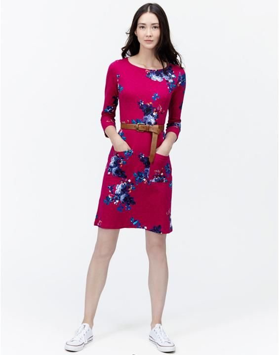 AMY Womens Casual Jersey floral Dress