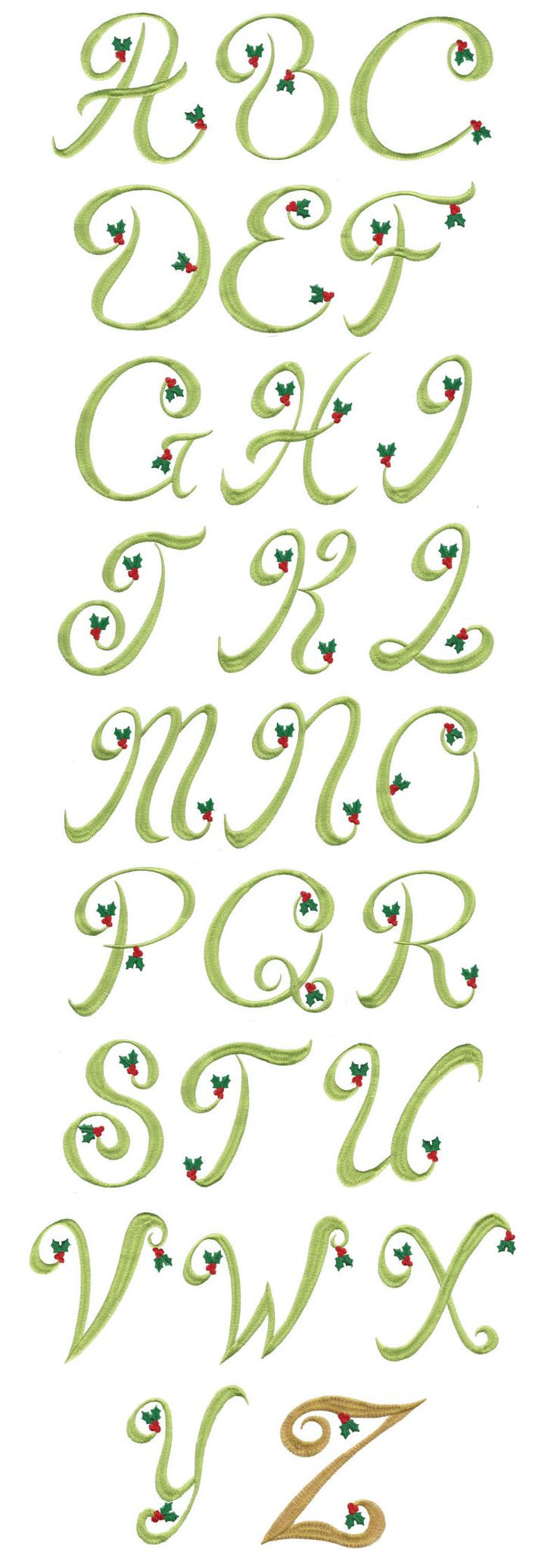 Embroidery Designs | Monogram Font Machine Embroidery Designs | Christmas Holly Monogram