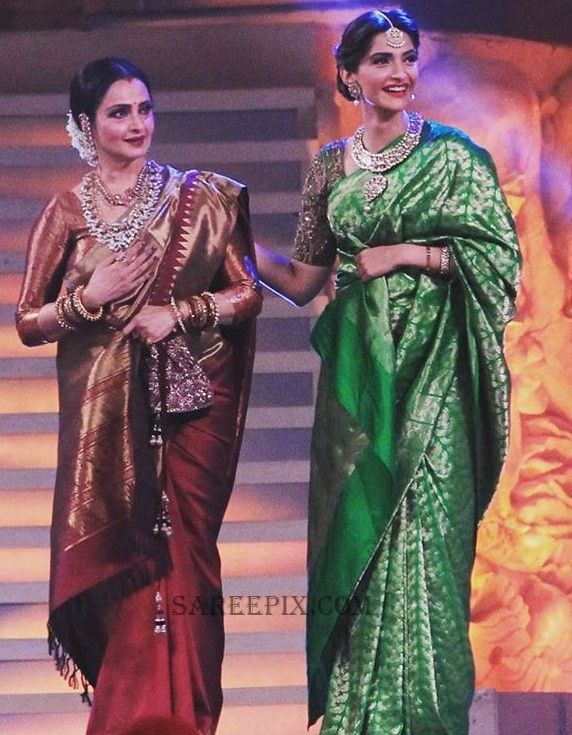 Rekha and Sonam kapoor spotted in traditional silk sarees at Star screen awards 2016. They looked gorgeous in sarees.