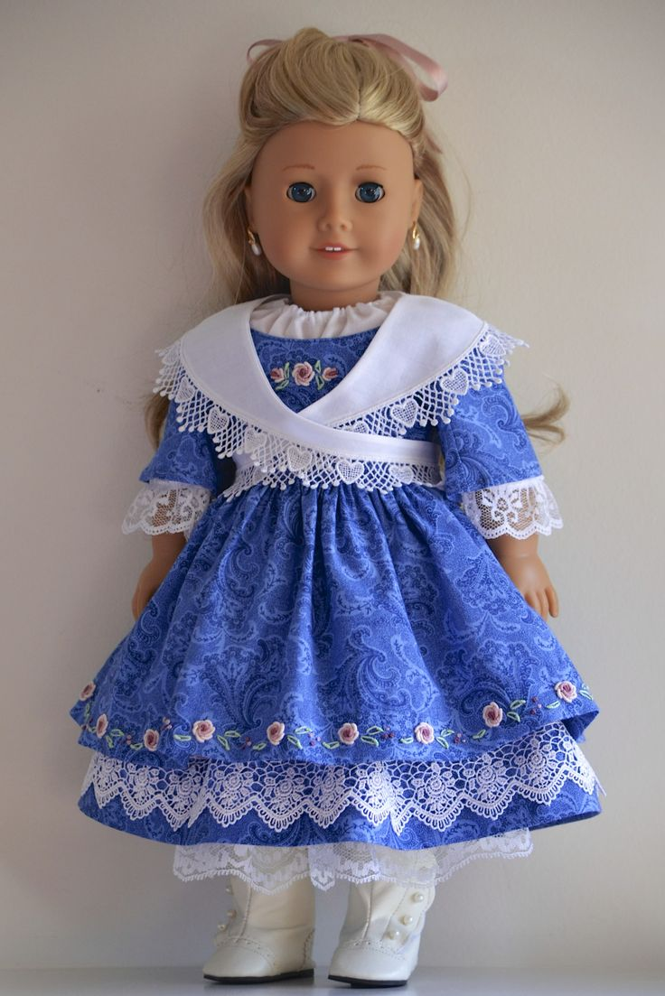 American Girl Clothing. 1850's Style Ensemble including Chemise, Underskirt, Overdress and Fichu by Simply 18 Inches. Sold via eBay auction