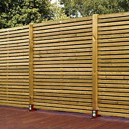 Green Contemporary Timber Fence Panel (W)1.79m (H)1.793m, Pack of 5 | Departments | DIY at B&Q