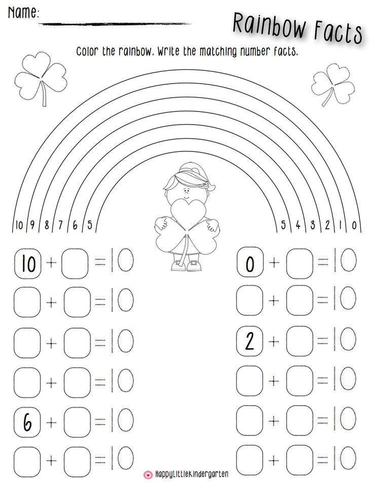 Ms Lovenberg S Happy Little Kindergarten St Patrick S Day Rainbow Facts Kindergarten Math Math Facts Addition
