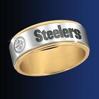 Pittsburgh Steelers Spinner Ring for his wedding band!