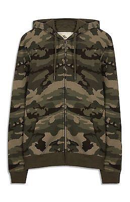 Primark Cedar Wood Camo Camouflage Khaki Brushed Zip Hoodie Jumper Jacket