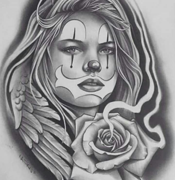 154 best images about ink on pinterest tiger tattoo for Chicano clown girl tattoos