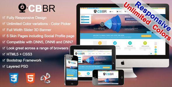CBBR-Unlimited Colors Responsive DNN Skin - Miscellaneous Joomla