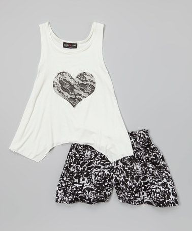 Love this Ivory Lace Heart Tank & Black Shorts - Girls on #zulily! #zulilyfinds
