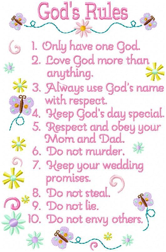 Ten Commandments for Teenagers | Custom Butterfly & Floral art for Oma's Place |