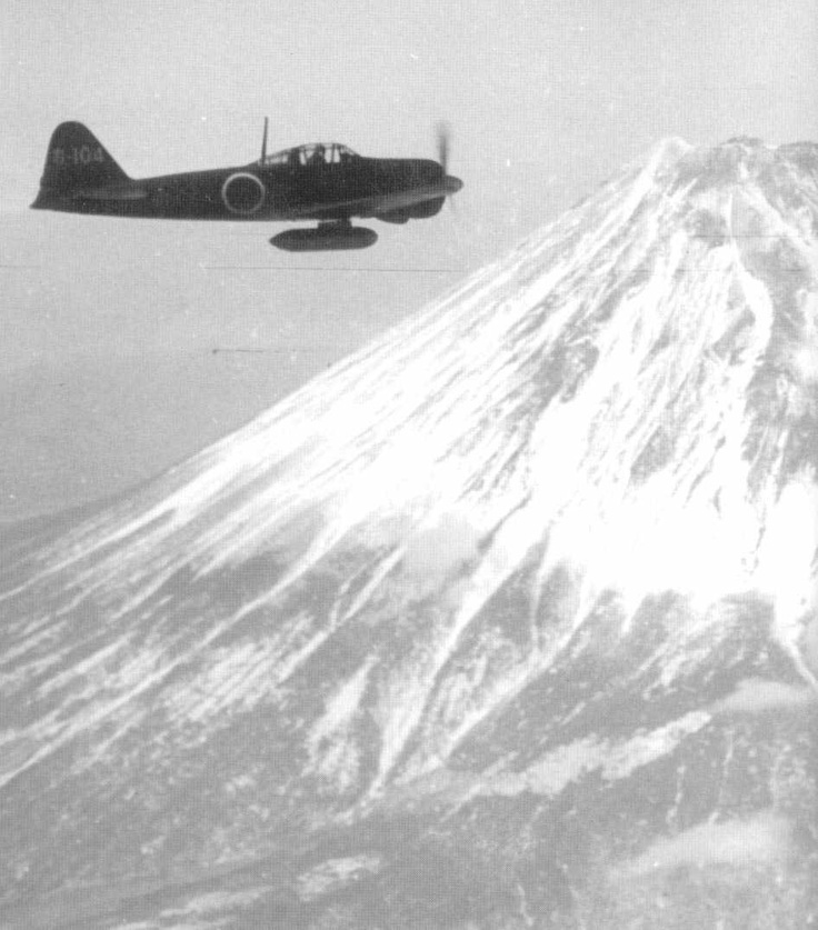 "A6M Type 0 Reisen (Zeke) ""Zero"" Over Mount Fuji"