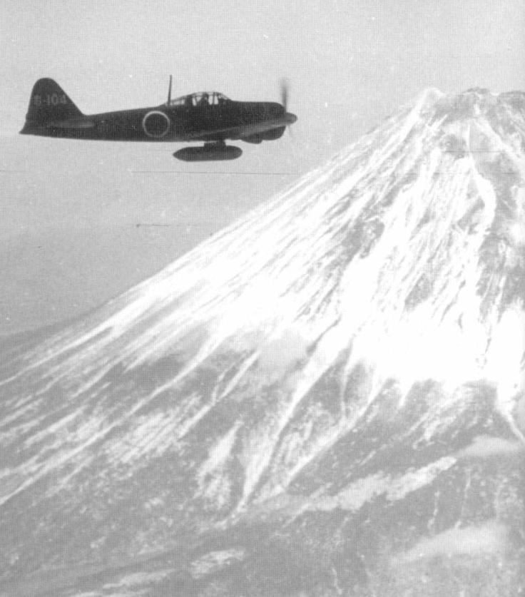 """A6M Type 0 Reisen (Zeke) """"Zero"""" Over Mount Fuji"""