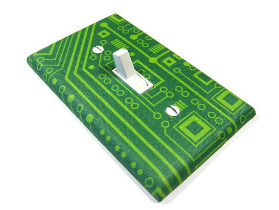 Geek Home Decor Light Switch Cover Green Computer Circuit Board Computer Tech Lover Office Decoration 850