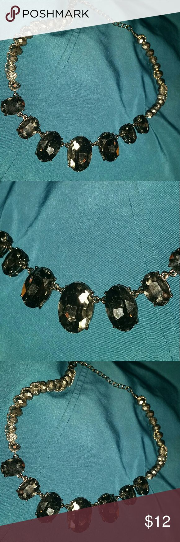 "Mid-Century Style Necklace by Etsy Black Smoke Oval/Gemone Diamond and Silver. Very cool little piece that has that punk chic cool to it.  7 Large Black  Smoke Gemone (Oval/Rosecut) Style Diamond in middle of piece. Smaller size beaded Gemone Diamonds wrapped in Dark Silver Chain. 15"" Jewelry Necklaces"
