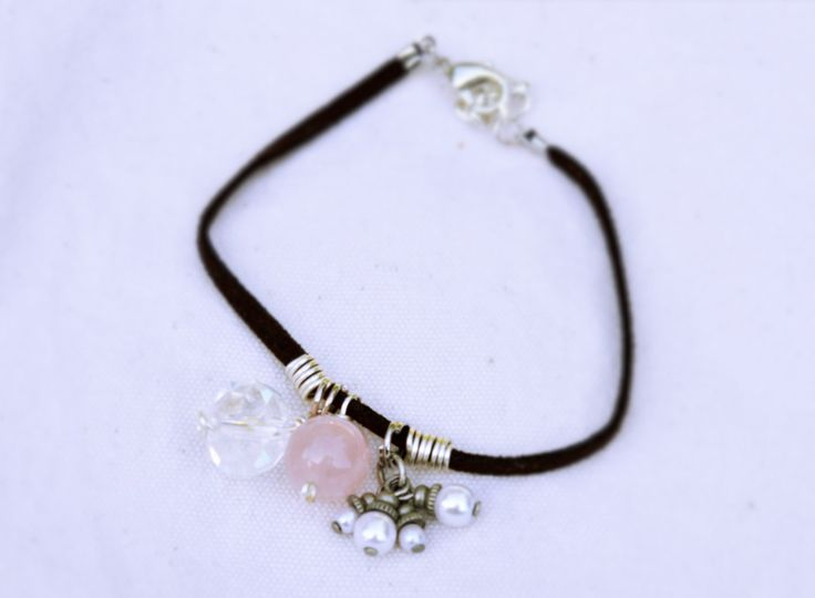 Brown+Soft+Suede+Bracelet+With+Rose+Quartz+Glass+by+KEYZandMore,+$14.00